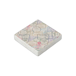 Passport Stamps Travel Stone Magnet