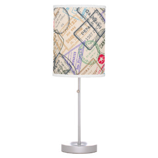 Passport Stamps Travel Table Lamp