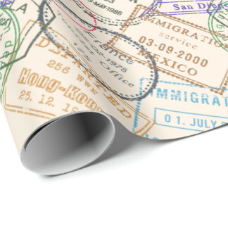 Passport Stamps Travel Wrapping Paper