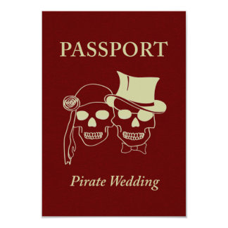 "passport to a pirate wedding 3.5"" x 5"" invitation card"