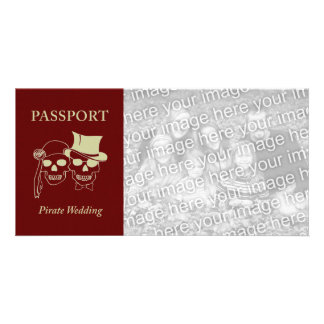 passport to a pirate wedding photo card