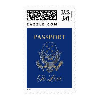 Passport to Love Wedding Postage Stamp | Blue