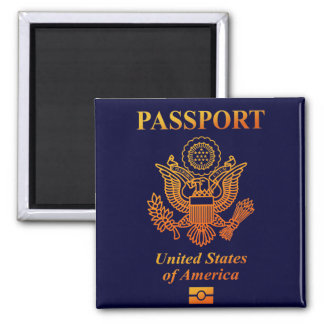 PASSPORT (USA) 2 INCH SQUARE MAGNET