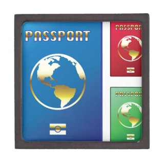 Passports Vector blue red green Gift Box