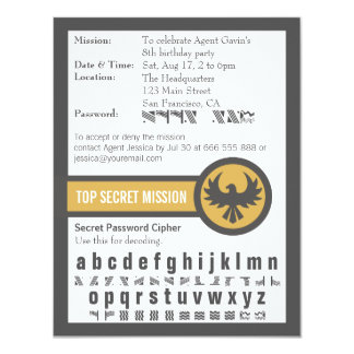 Password Secret Agent Birthday Party Card