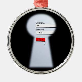 Password Security Metal Ornament