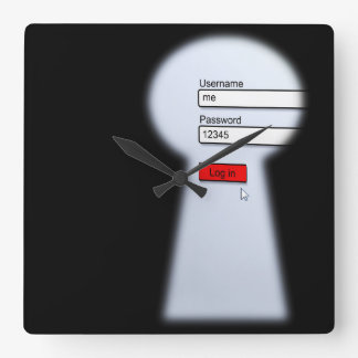 Password Security Square Wall Clock