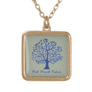 Past, Present, Future Tree Gold Plated Necklace