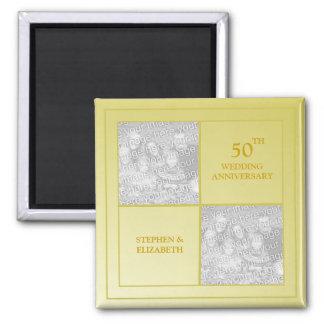 Past & Present Photo Golden Anniversary 2 Inch Square Magnet