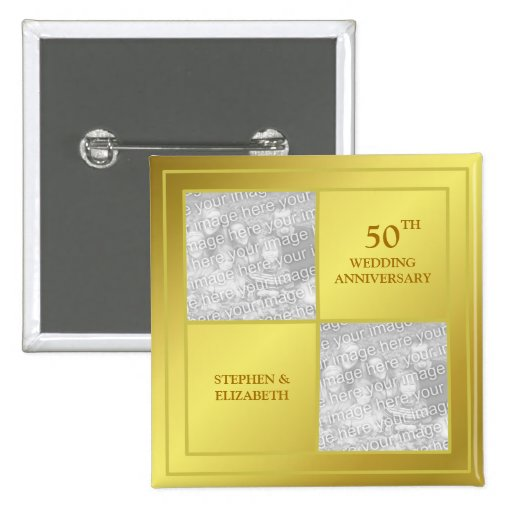Past & Present Photo Golden Anniversary (Shiny) Pinback Buttons