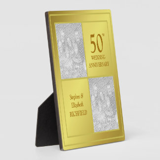 Past & Present Photo Golden Anniversary (Shiny) Display Plaques