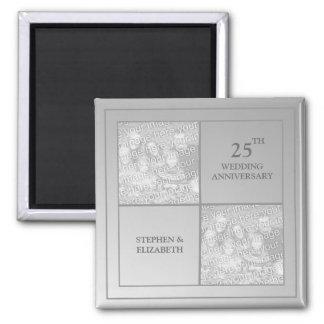 Past & Present Photo Silver Anniversary 2 Inch Square Magnet