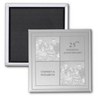 Past & Present Photo Silver Anniversary Fridge Magnets