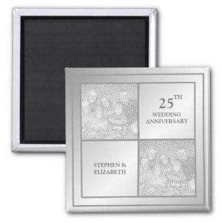Past & Present Photo Silver Anniversary (Shiny) 2 Inch Square Magnet