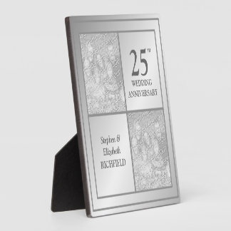 Past & Present Photo Silver Anniversary (Shiny) Display Plaques