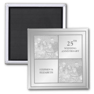 Past & Present Photo Silver Anniversary (Shiny) Magnets