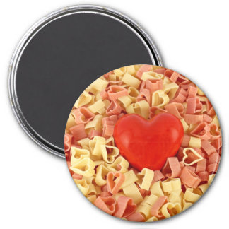 Pasta and a heart 3 inch round magnet