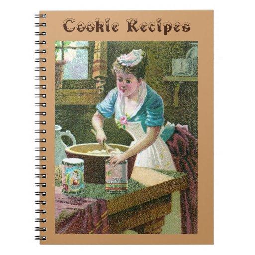 Pasta de mezcla de la mujer del Victorian en cuenc Libretas Espirales