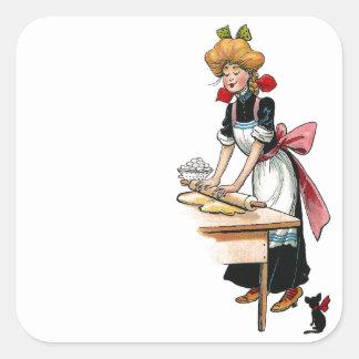 Pasta del balanceo de la mujer del vintage pegatina cuadrada