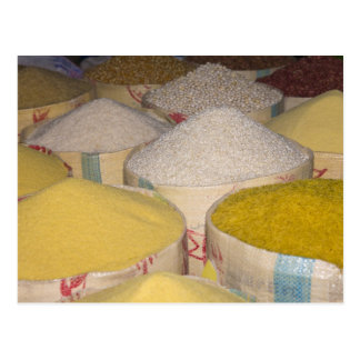Pasta, grain and rice in sacks at the souk in postcard