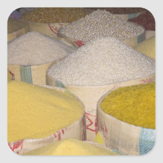 Pasta, grain and rice in sacks at the souk in square sticker