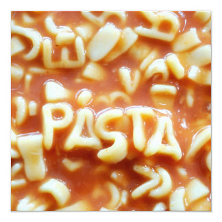 Pasta letters spell pasta card