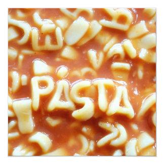 Pasta letters spell pasta 5.25x5.25 square paper invitation card