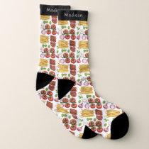 Pasta Pattern custom name socks