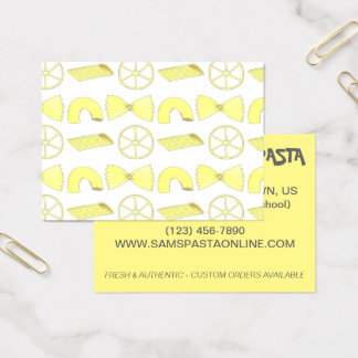 Pasta Shapes Italian Food Chef Cooking Restaurant Business Card