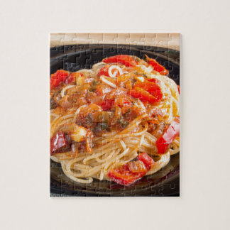 Pasta spaghetti with vegetable sauce jigsaw puzzle