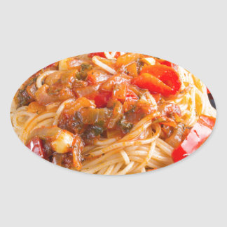 Pasta spaghetti with vegetable sauce oval sticker