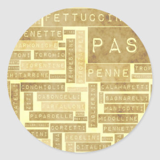 Pasta Types and Assorted Variety of Pastas Classic Round Sticker