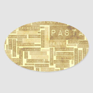 Pasta Types and Assorted Variety of Pastas Oval Sticker