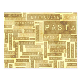 Pasta Types and Assorted Variety of Pastas Postcard