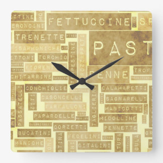 Pasta Types and Assorted Variety of Pastas Square Wall Clock