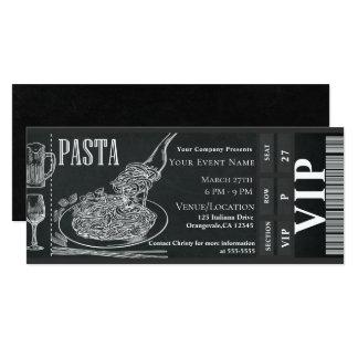 Pasta WIne Dinner Chalk VIP Dinner Party Ticket Card