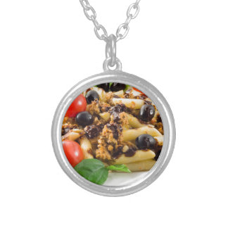 Pasta with bolognese sauce, beef meat, olives silver plated necklace