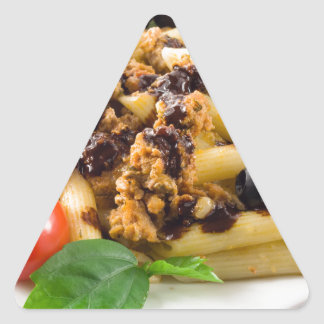 Pasta with bolognese sauce, beef meat, olives triangle sticker