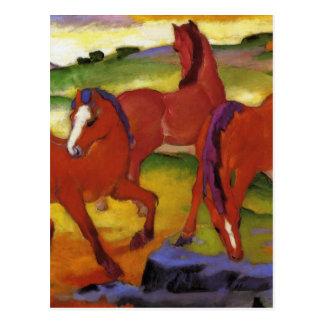 Pastando caballos IV (los caballos rojos) por Postal