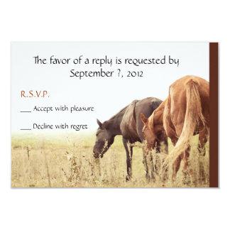 """Pastando los caballos - tarjetas de RSVP Invitación 3.5"""" X 5"""""""
