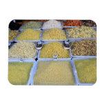 Pastas, cereal, cesta, comida italiana, mercado imanes rectangulares