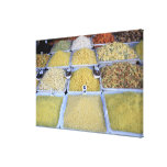 Pastas, cereal, cesta, comida italiana, mercado impresión en lienzo