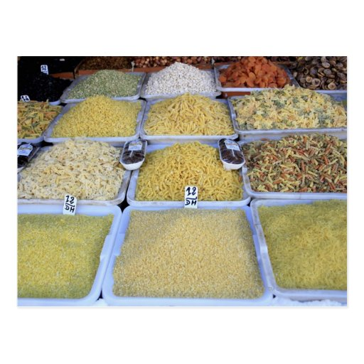 Pastas, cereal, cesta, comida italiana, mercado tarjetas postales