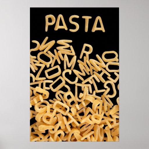 Pastas de la sopa del alfabeto póster