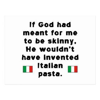 Pastas italianas flacas postal