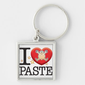 Paste Love Man Silver-Colored Square Keychain