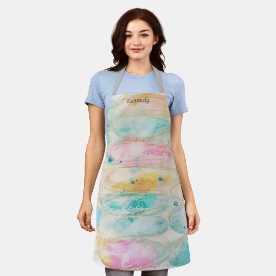 Pastel Abstract Grunge Painting Crafting Add Name Apron