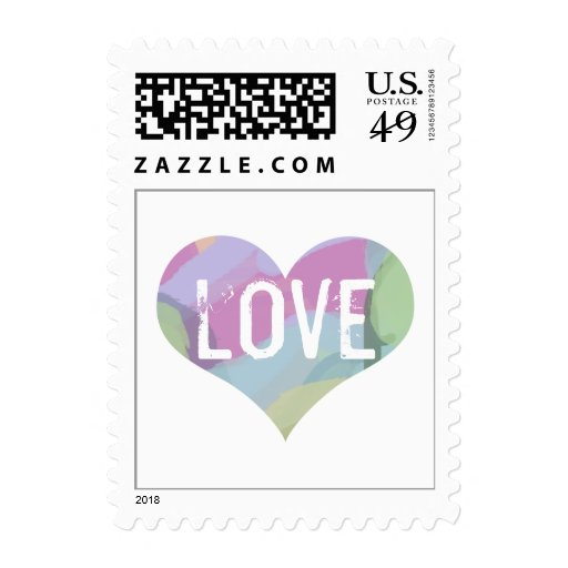 Pastel Abstract Heart Postage