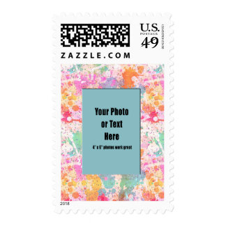 Pastel Abstract Paint Splatters Postage Stamps