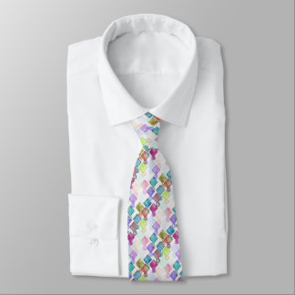 Pastel Abstract Retro Squares Polka Dots Pattern Neck Tie
